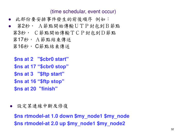 (time schedular, event occur)