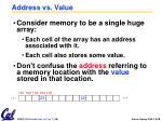 address vs value