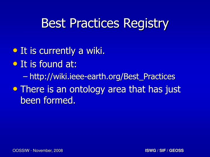Best Practices Registry