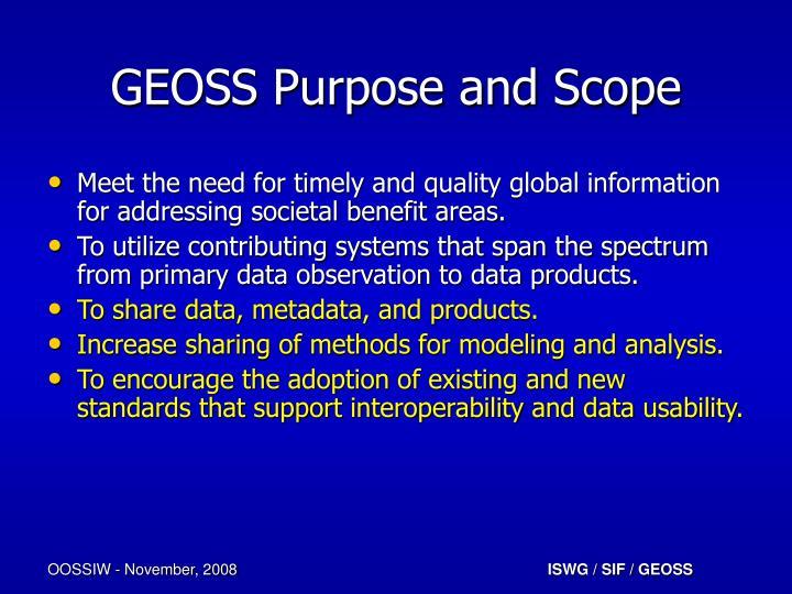 Geoss purpose and scope