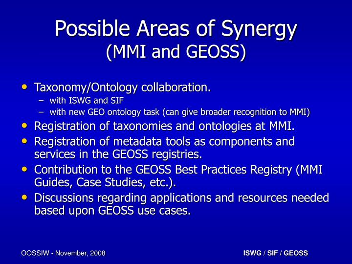 Possible Areas of Synergy