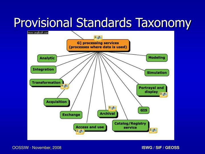 Provisional Standards Taxonomy