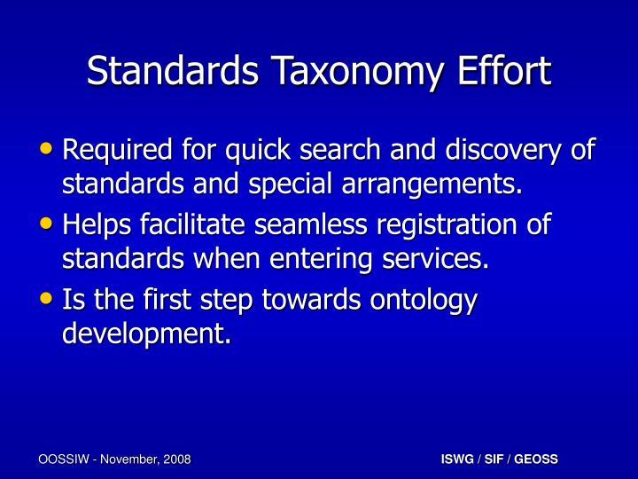 Standards Taxonomy Effort