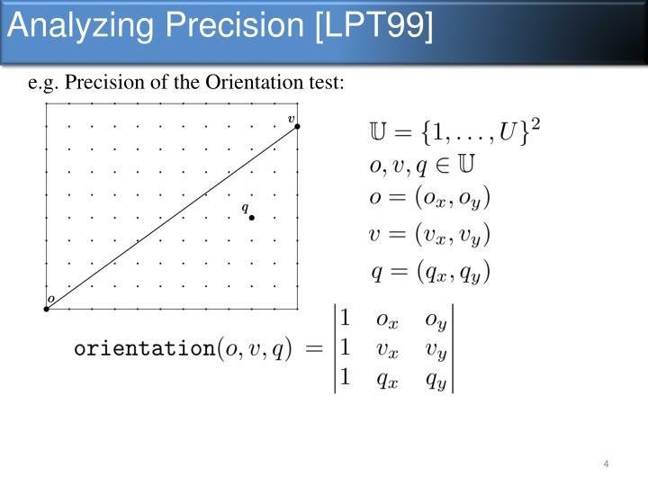 Analyzing Precision [LPT99]