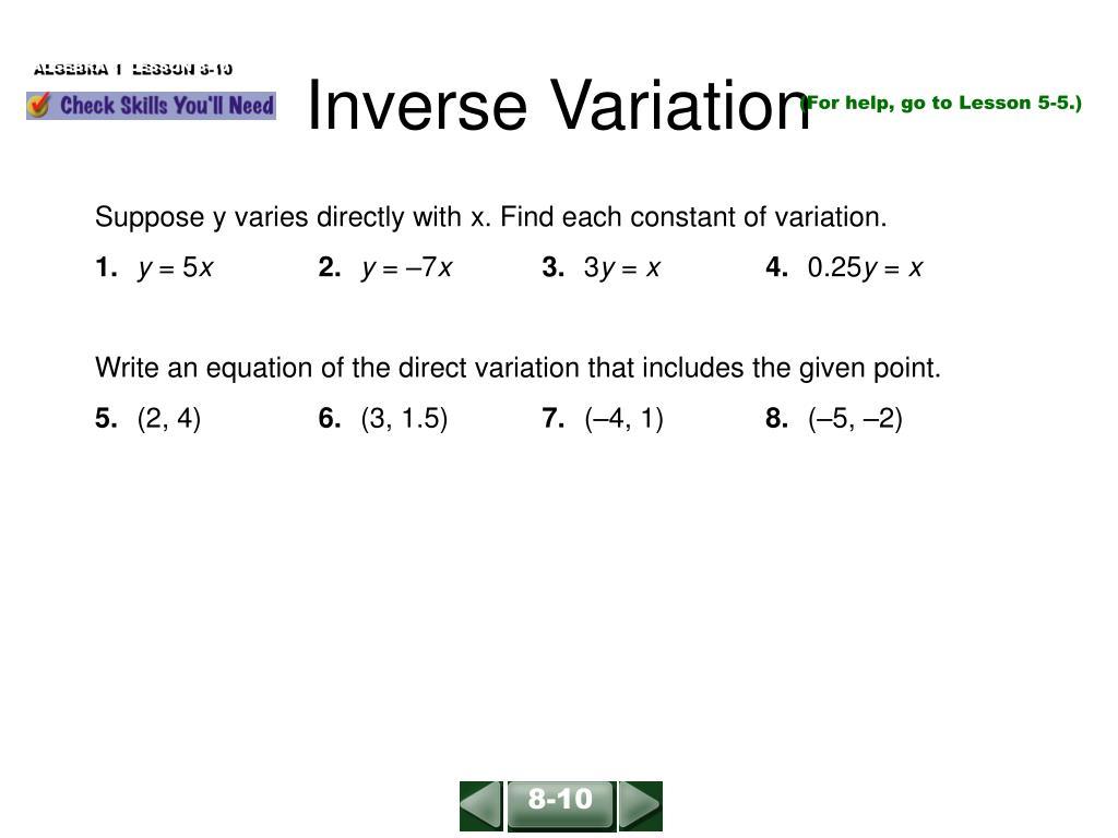 ppt - inverse variation powerpoint presentation - id:5176786