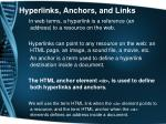 hyperlinks anchors and links