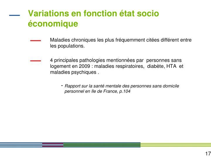 Variations en fonction état socio économique