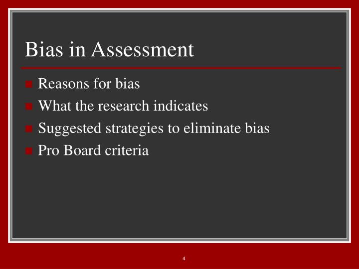 Bias in Assessment