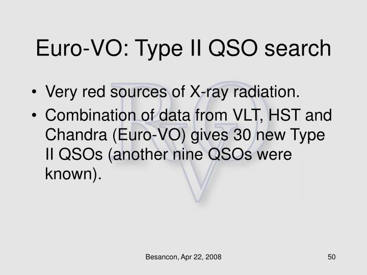 Euro-VO: Type II QSO search