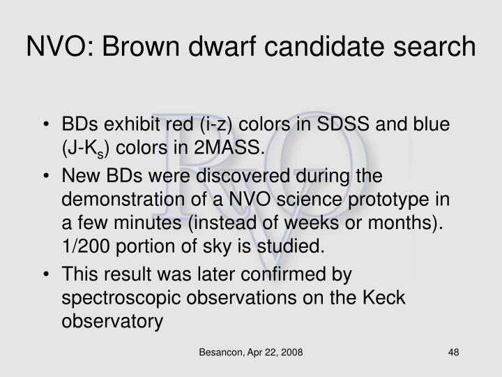 NVO: Brown dwarf candidate search