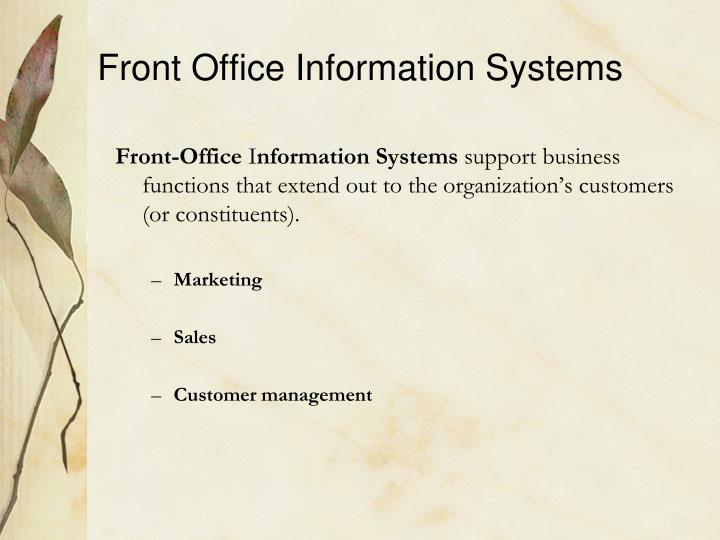 Front Office Information Systems
