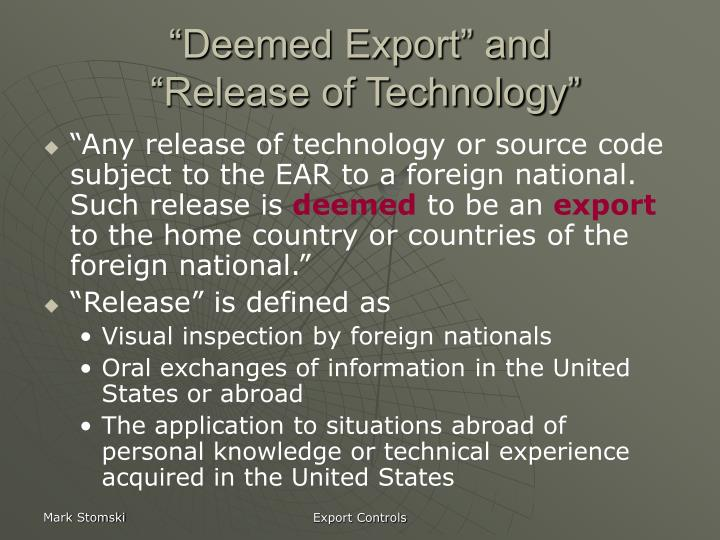 """""""Deemed Export"""" and"""
