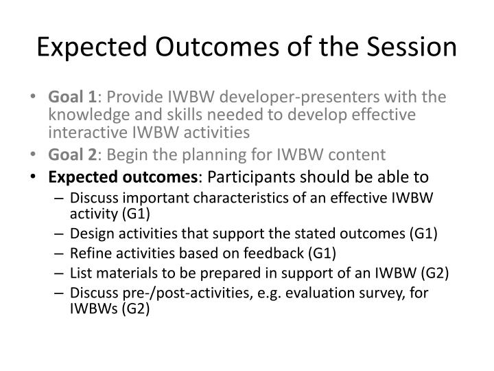 Expected Outcomes of the Session