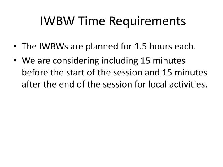 IWBW Time Requirements