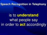 speech recognition in telephony