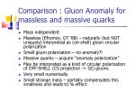 comparison gluon anomaly for massless and massive quarks