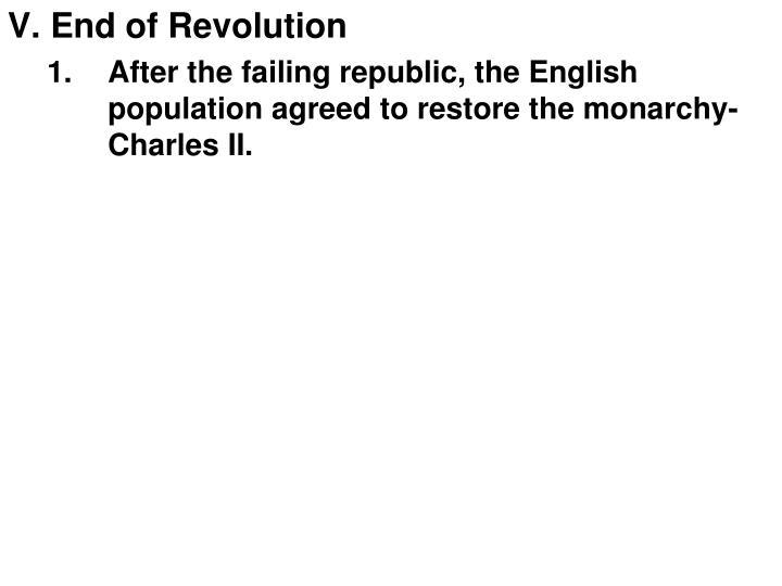 V. End of Revolution