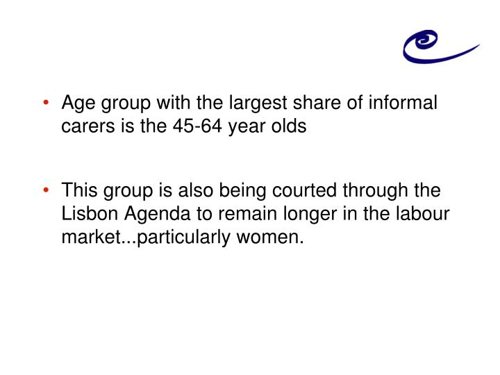 Age group with the largest share of informal carers is the 45-64 year olds