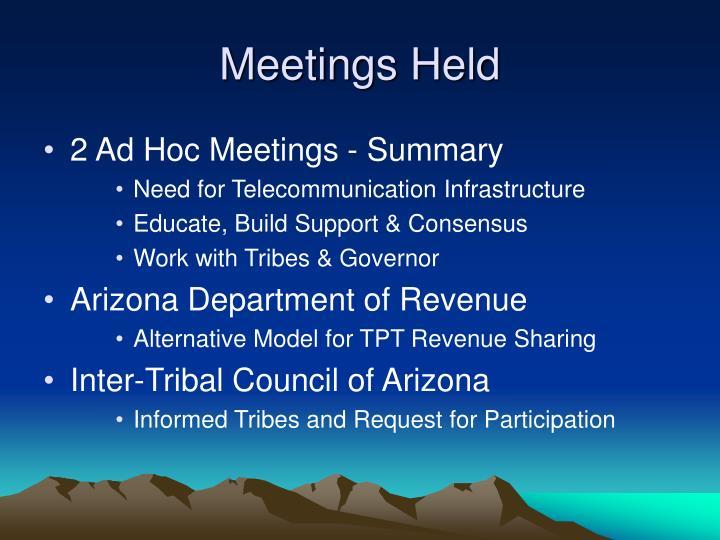 Meetings Held