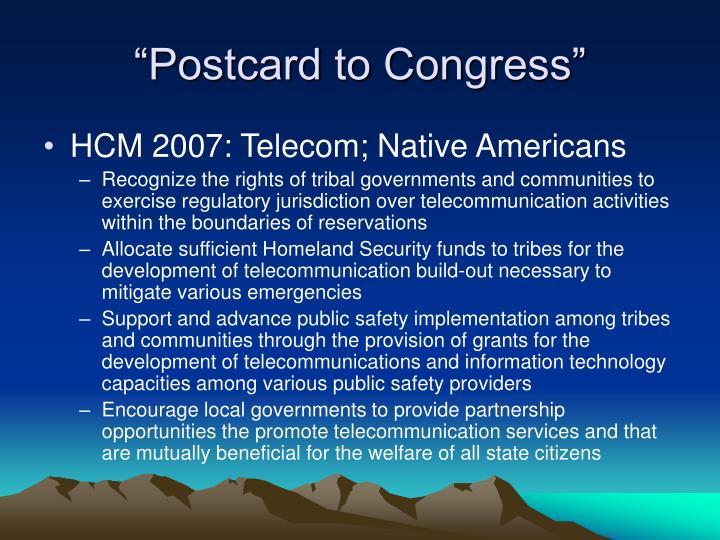 """Postcard to Congress"""