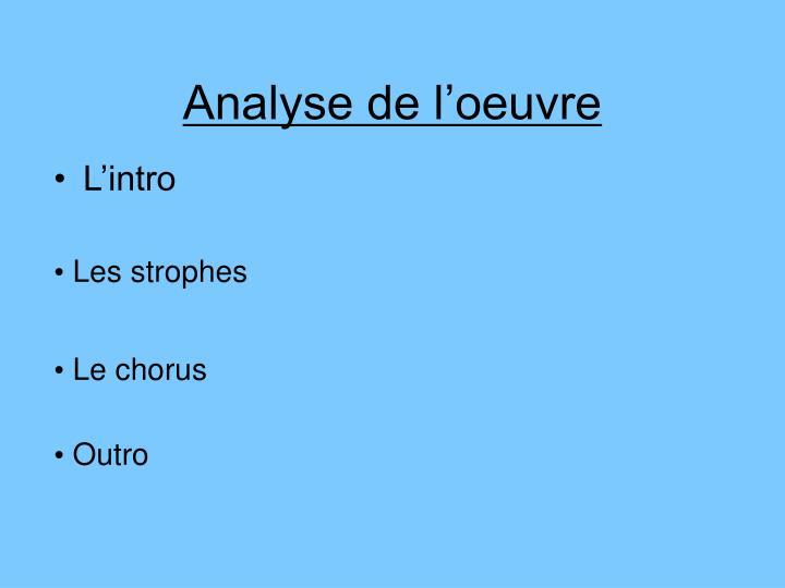 Analyse de l'oeuvre