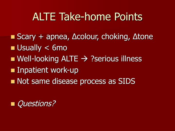 ALTE Take-home Points