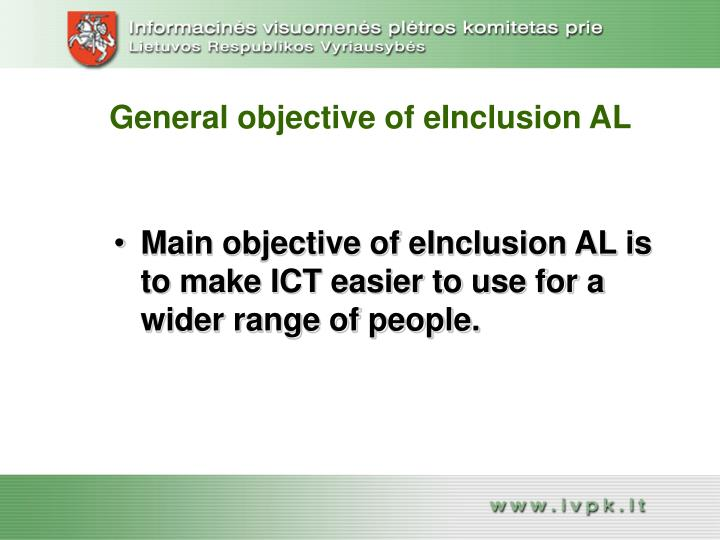 General objective of einclusion al