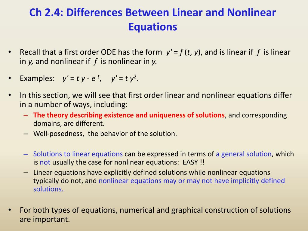 ppt - ch 2.4: differences between linear and nonlinear equations