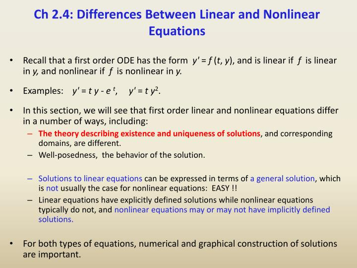 Ch 2 4 differences between linear and nonlinear equations
