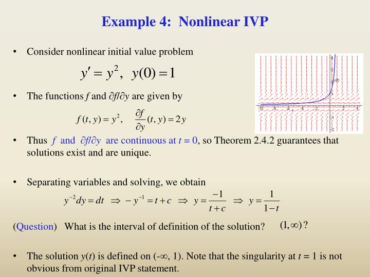 Example 4:  Nonlinear IVP