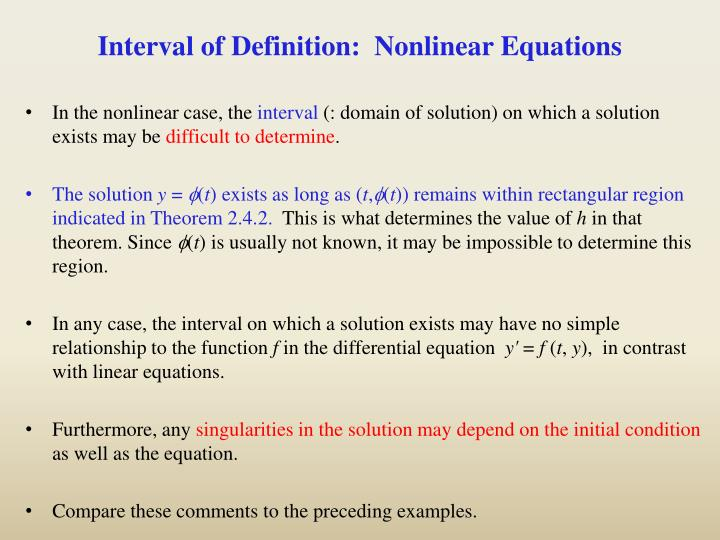 Interval of Definition:  Nonlinear Equations