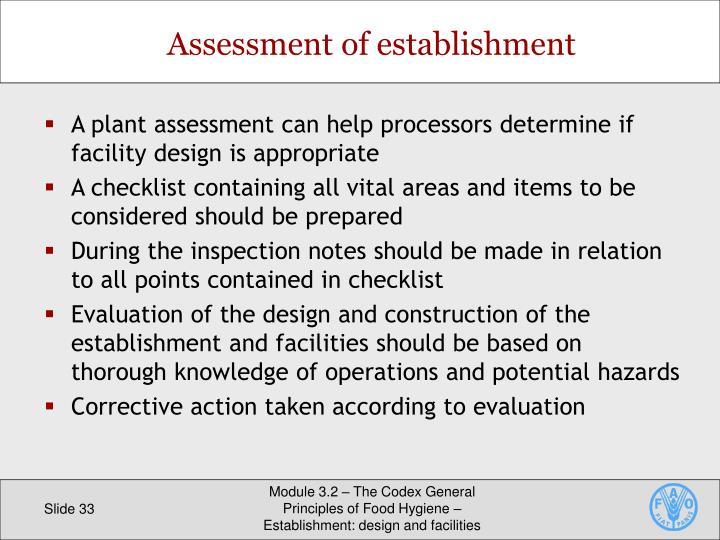 Assessment of establishment