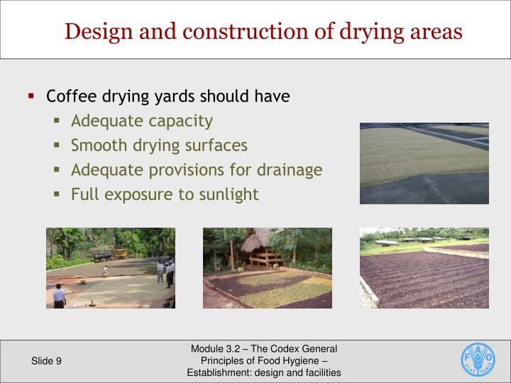 Design and construction of drying areas