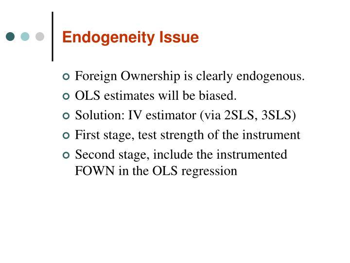 Endogeneity Issue