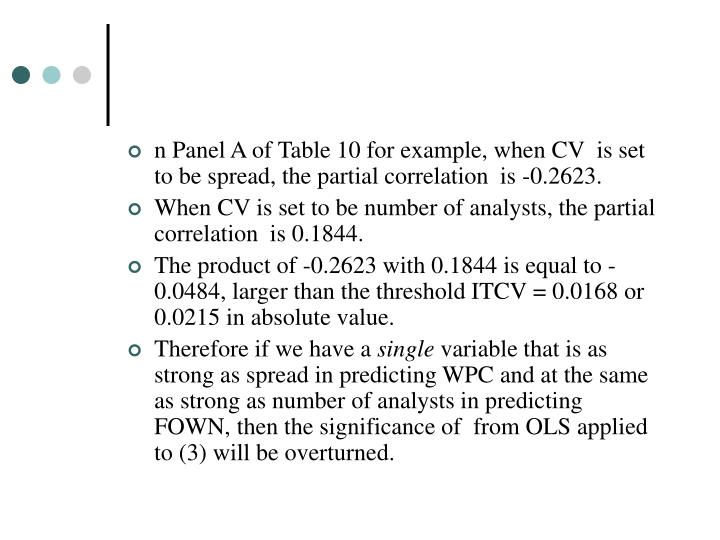 n Panel A of Table 10 for example, when CV  is set to be spread, the partial correlation  is -0.2623.