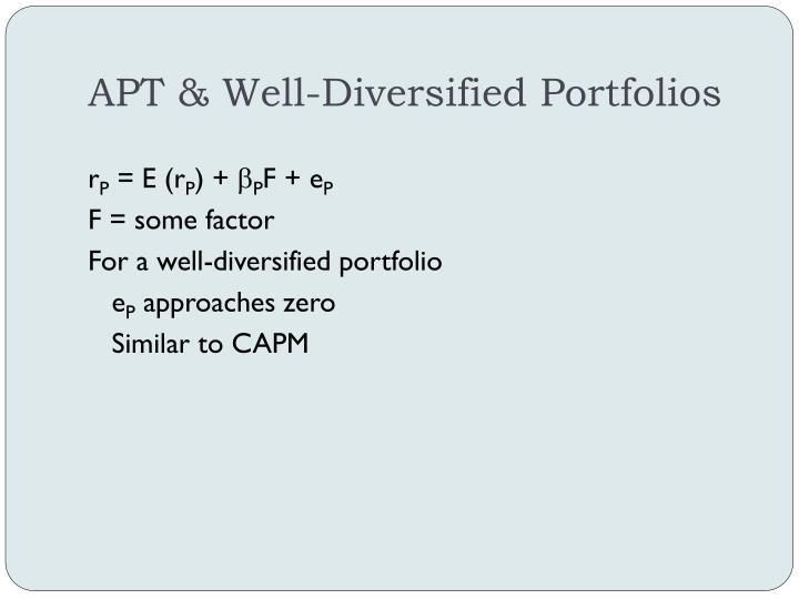 APT & Well-Diversified Portfolios
