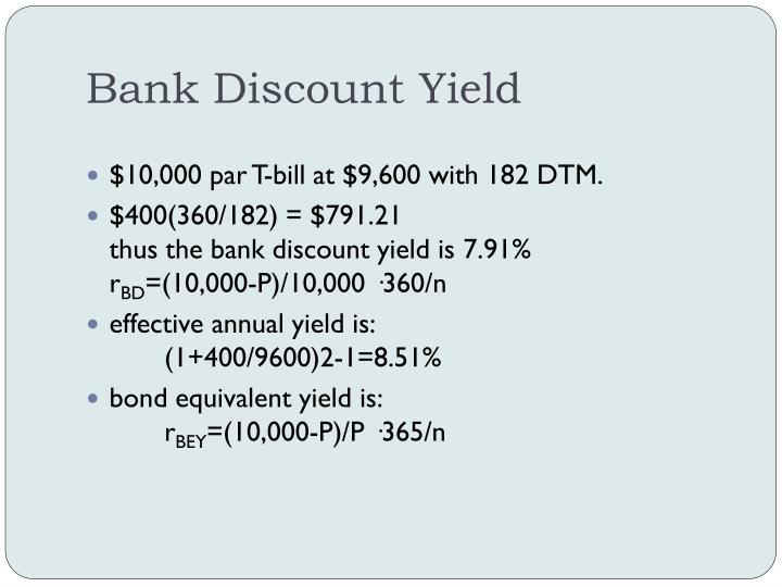 Bank Discount Yield