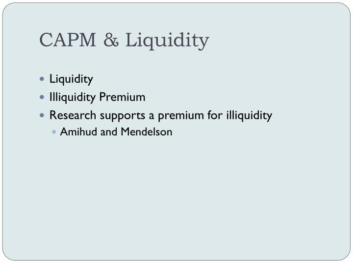 CAPM & Liquidity