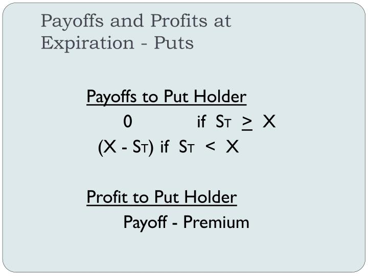 Payoffs and Profits at