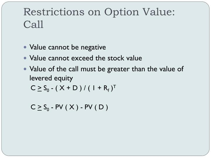 Restrictions on Option Value: Call