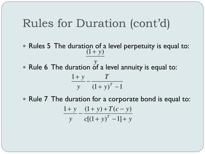 Rules for Duration (cont'd)