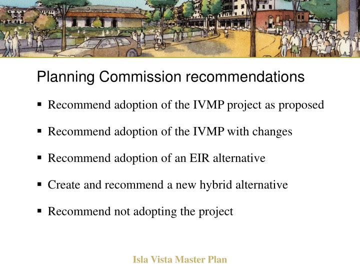 Planning Commission recommendations