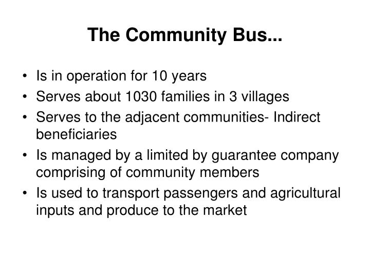 The Community Bus...