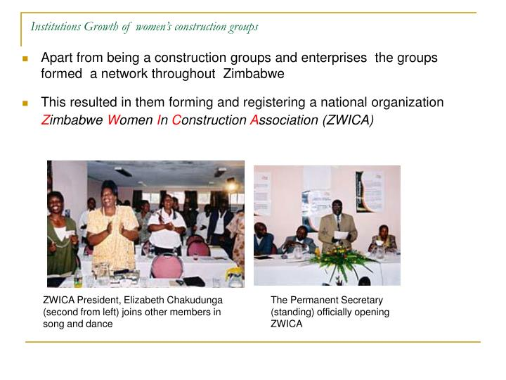 Institutions Growth of women's construction groups
