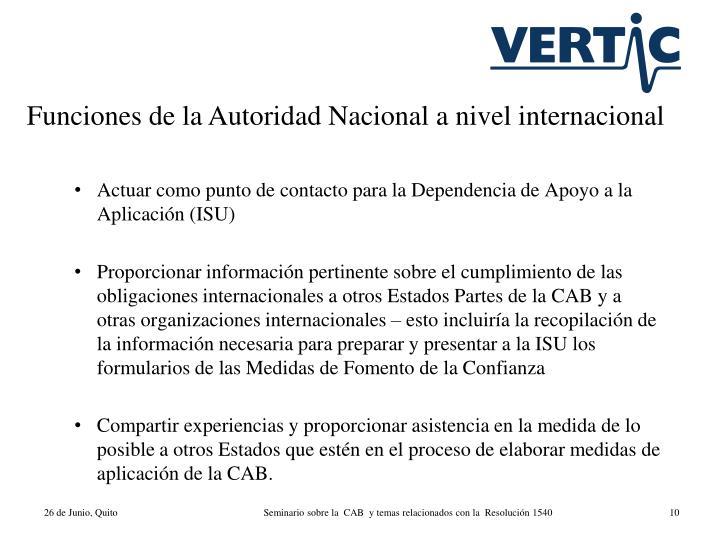 Funciones de la Autoridad Nacional a nivel internacional