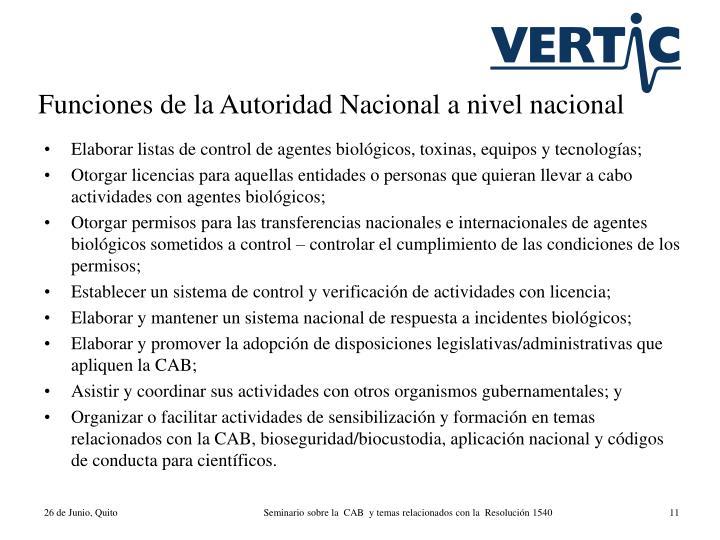Funciones de la Autoridad Nacional a nivel nacional