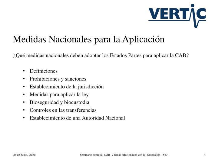 Medidas Nacionales para la Aplicación