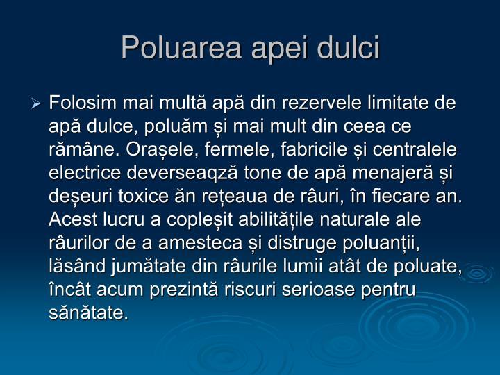 Poluarea apei dulci