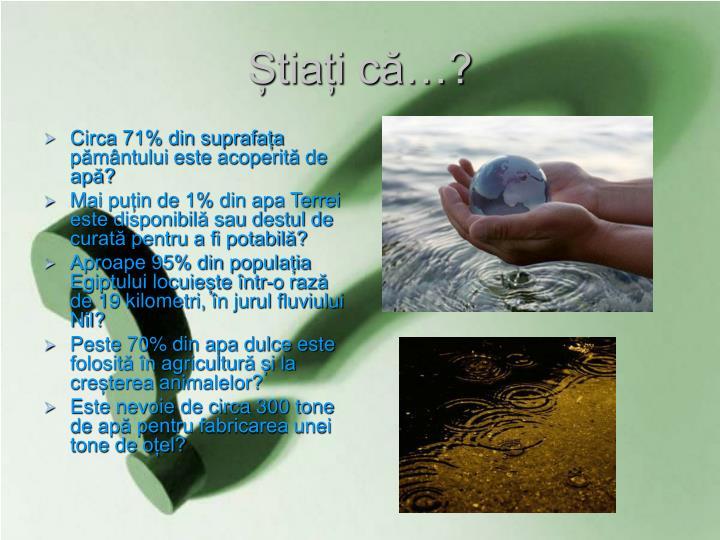 Circa 71% din suprafața pământului este acoperită de apă?