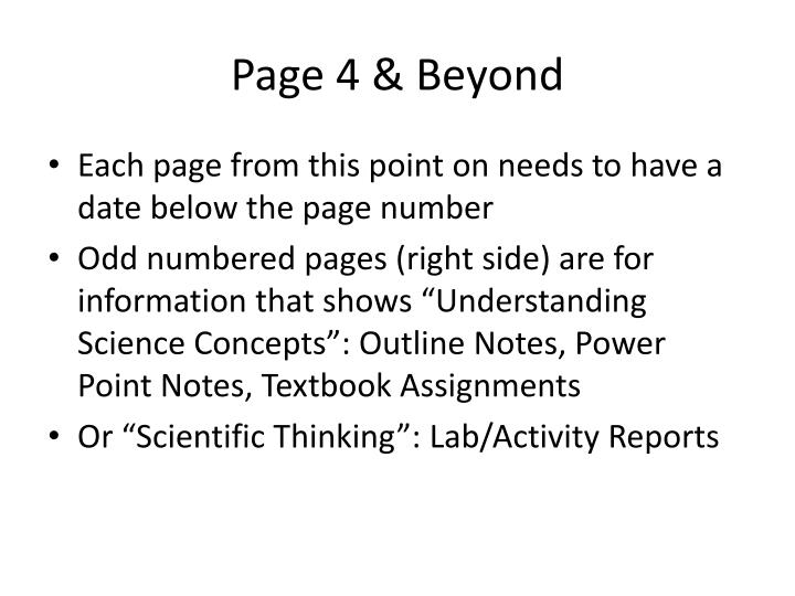 Page 4 & Beyond